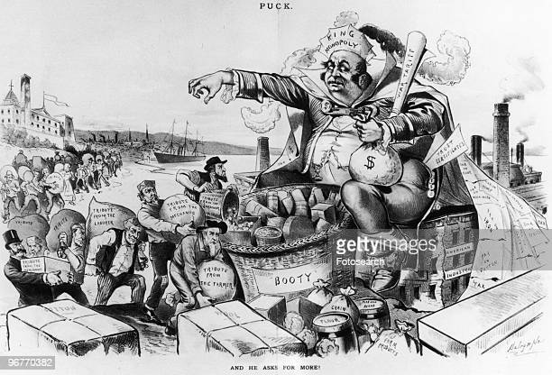 A Cartoon Illustration of Men carrying Money and Goods in Sacks to a Giant with a Hat reading King Monopoly with text 'And He Asks For More'...