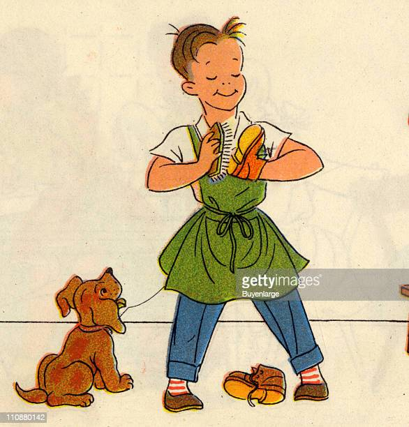 Cartoon illustration shows a boy as he polishes his shoes while a dog watches mid twentieth century