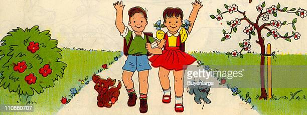 Cartoon illustration shows a boy girl shoolbags on their backs as they wave from a pathway while a dog cat run along beside them mid twentieth century