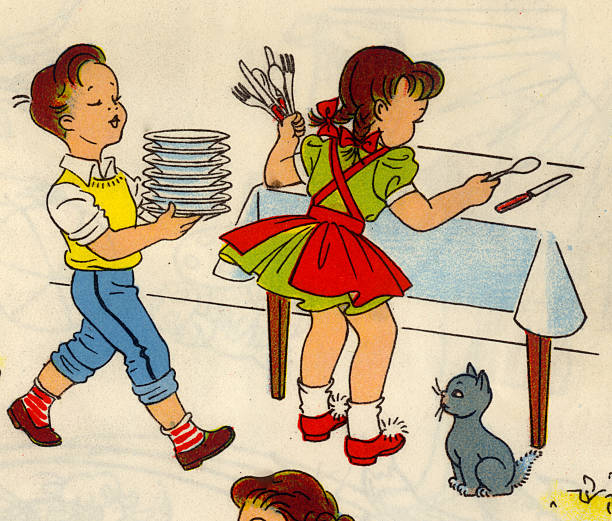 Boy & Girl Set The Table Pictures   Getty Images