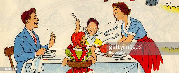 Cartoon illustration shows a family seated at a dinner table while the mother serves food mid twentieth century