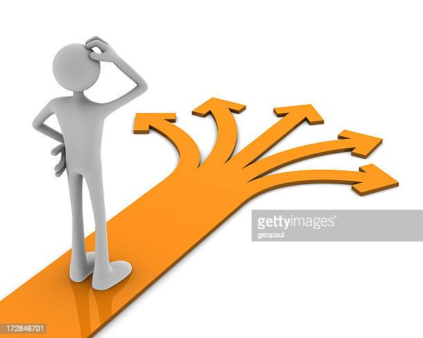 Cartoon image with a man trying to decide which path to take