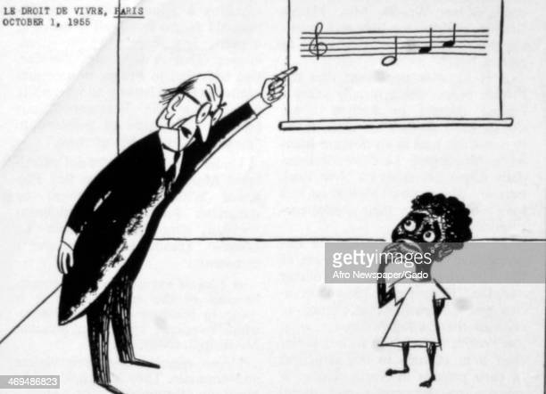 Cartoon in Le Figaro French newspaper entitled 'Le Droit De Vivre' commenting on the Emmett Till racially motivated murder in Mississippi in 1955...