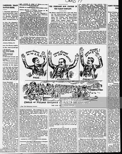 Cartoon In New York Morning Journal showing President Cleveland Mr Debs and Mr Sovereign celebrating the end of a railway strike with lines of...