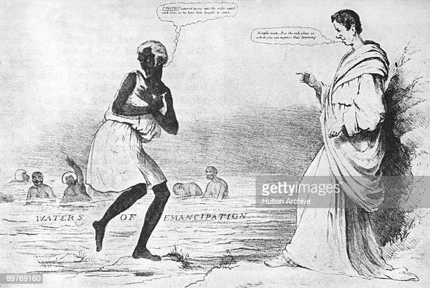 A cartoon lampooning British Prime Minister Arthur Wellesley over his objection to the Slavery Abolition Act 1833 Wellesley's view was that slaves...