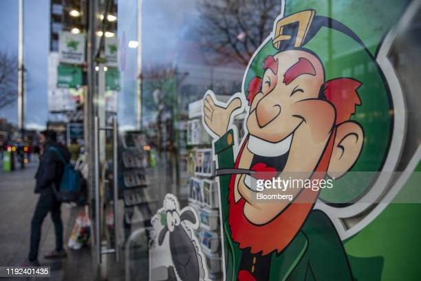 A cartoon leprechaun decorates a shop window on O'Connell Street Lower in Dublin Ireland on Monday Jan 6 2020 Ireland issued a record number...