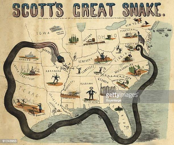 Cartoon map illustrating Gen Winfield Scott's plan to crush the Confederacy economically It is sometimes called the 'Anaconda plan' Cartoon