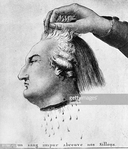 Cartoon 'Matter for reflection for crowned jugglers' beneath the severed head of Louis XVI is the line from the Marseillasie 'May an impure blood...