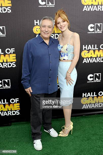 Cartoon Network President/COO Stuart Snyder and actress Bella Thorne attend Cartoon Network's fourth annual Hall of Game Awards at Barker Hangar on...