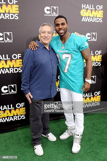 Cartoon Network President/COO Stuart Snyder and singer Jason Derulo attend Cartoon Network's fourth annual Hall of Game Awards at Barker Hangar on...