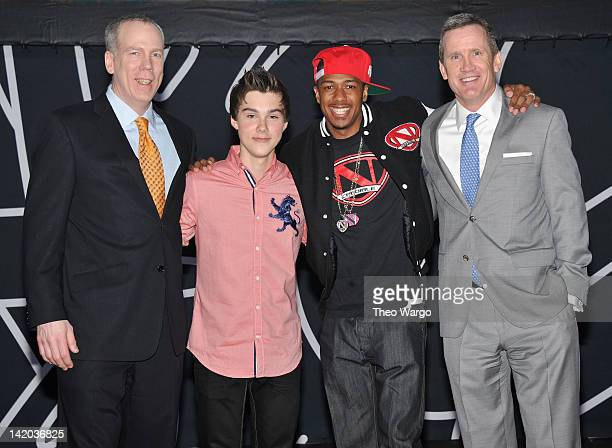 Cartoon Network Sales Marketing Enterprises EVP John O'Hara Jeremy Shada Nick Cannon and Turner Broadcasting Sales EVP Joe Hogan attend Cartoon...