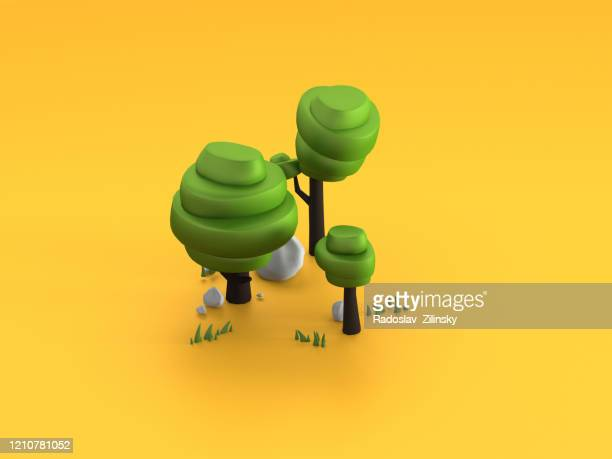 cartoon oak trees on orange background - three dimensional stock pictures, royalty-free photos & images