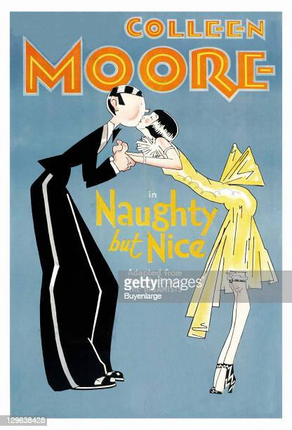 Cartoon of a guy in a Tuxedo and a flapper on a poster that advertises the movie 'Naughty But Nice' 1927