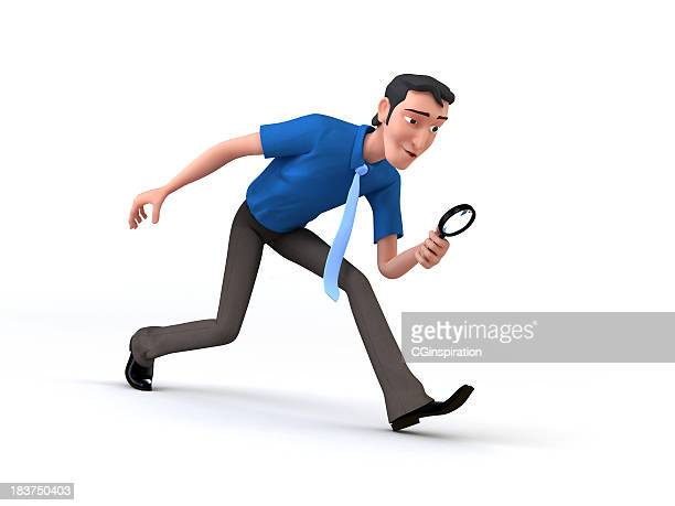 Cartoon of a man with magnifying glass depicting job search