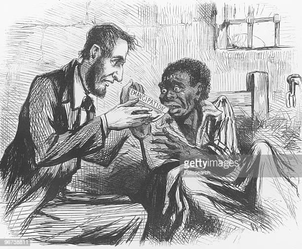 Cartoon of Abraham Lincoln feeding bedridden black slave with bowl of emancipation circa 1873