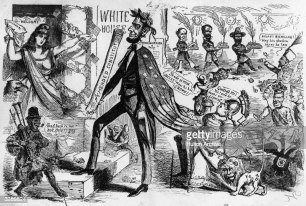 A cartoon of Abraham Lincoln the 16th President of the United States of America with a copy of the amended constitution