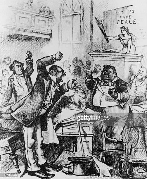 Cartoon of black legislators arguing circa 1874 Text 'Let us Have Peace' captioned 'Colored Rule in a Reconstructed State by Thomas Nast in Harper's...