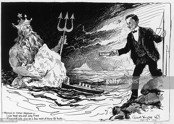 Cartoon of Neptune and Guglielmo Marconi circa 1920