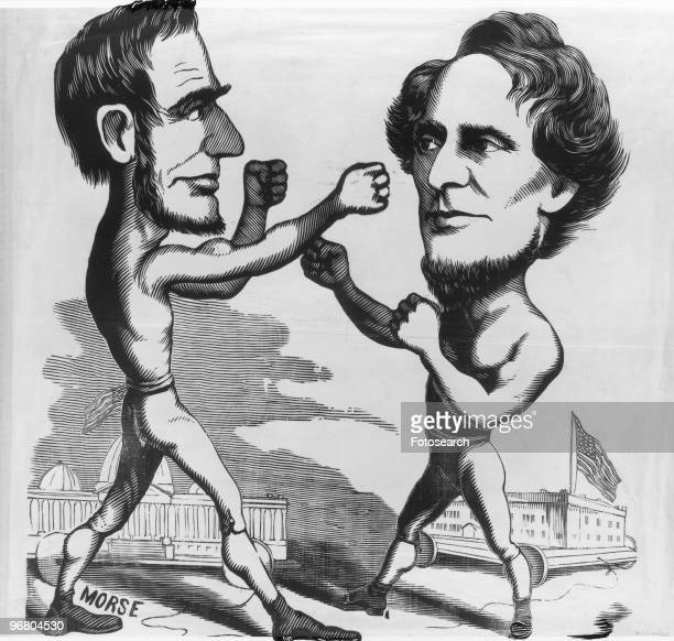 Cartoon of President Abraham Lincoln sparring with Confederate President Jefferson Davis circa 1861