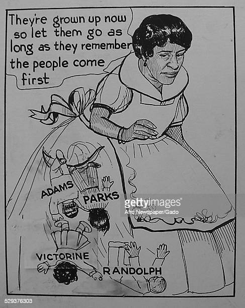 Cartoon of teacher civil rights leader and Maryland state senator Verda Welcome January 21 Original Caption Reads 'They Are Grown Up Now So Let Them...
