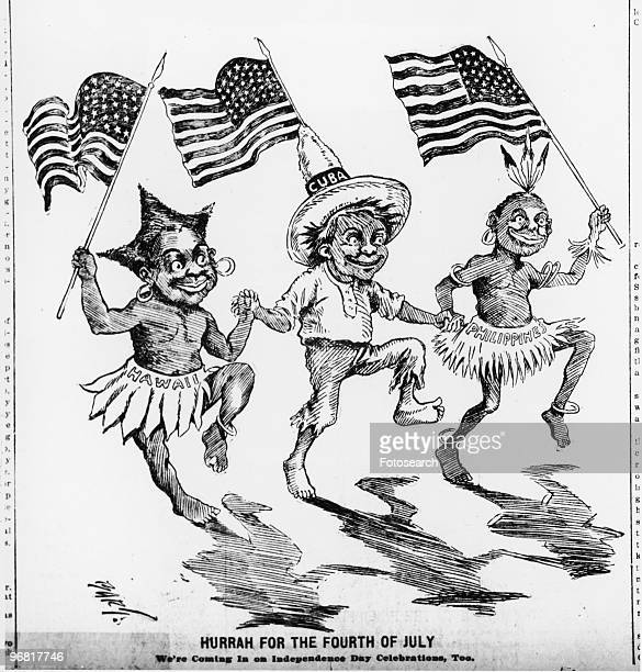 Cartoon of three dancing figures representing Hawaii Cuba and Philippines with caption 'Hurrah For The Fourth Of July We're Coming In On Independence...
