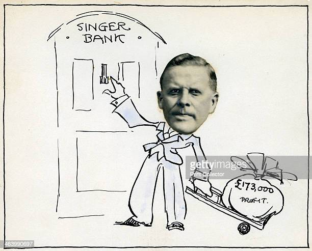 Cartoon of William E Bullock Managing Director of Singer Company Ltd c1930s Bullock became chairman of the car manufacturing company in 1933 but left...