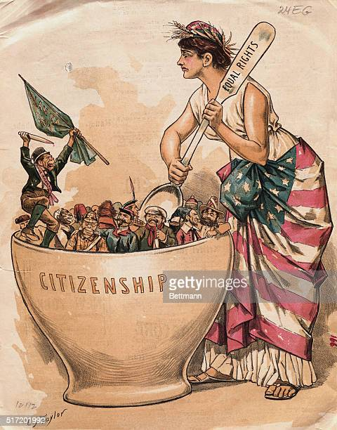 Cartoon on equal rights for all citizens shows Lady Liberty stirring a bowl of Citizenship filled with people with her spoon of Equal Rights by CJ...