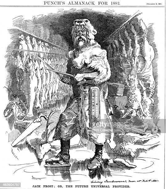 Cartoon on the future importance of refrigeration The figure of Jack Frost is shown in a room containing rows of frozen fish and meat hung from hooks...