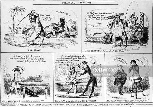 A cartoon reviling the cruelty of colonial slavery and the public's willingess to condone it 1830 'The Slave' is beaten to death by her owner'The...