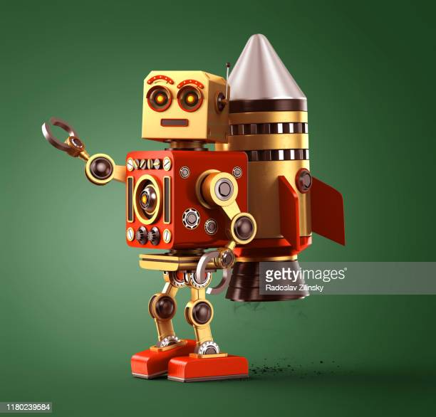 cartoon robot with rocket on back - animation stock pictures, royalty-free photos & images