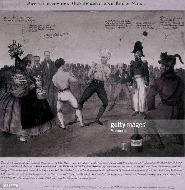 Cartoon satire on the conflict between Andrew Jackson and Nicholas Biddle over the future of the bank of the United States circa 1832