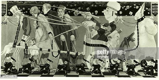 """Cartoon satire on the NEW DEAL. """"Taxes are paid in the sweat of every man who labors."""" The above quotation taken from a FDR speech in 1932 is used as..."""