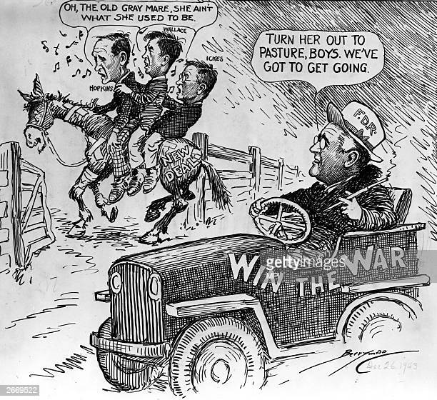 Cartoon satirizing the change of emphasis in Franklin Roosevelt's government, from concentrating on the New Deal to winning the war. Roosevelt is...