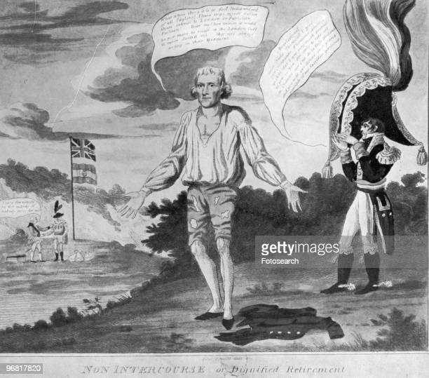 Cartoon showing a tattered figure of Thomas Jefferson with another military figure elaborately dressed with caption 'Non Intercourse Or Dignified...