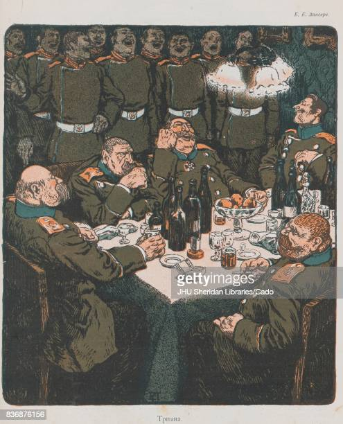 Cartoon showing caricature of officers with large and grotesque bodies sitting around a table drinking smoking and laughing as enlisted soldiers...