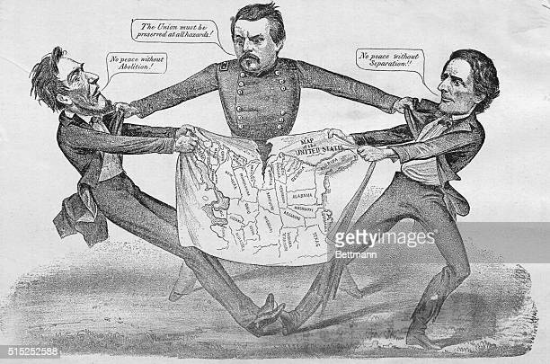 Cartoon showing General George McClellan attempting to mediate between President Abraham Lincoln and Jefferson Davis