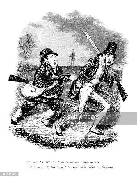 Cartoon showing hunters or poachers 19th century You wont leave me to be robid and murdered Not if you make haste but I'm sure that fellow's a footpad