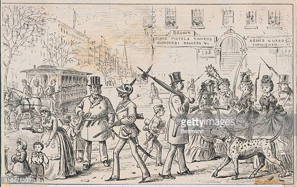 Cartoon showing people armed with guns and swords against the dangers of the city