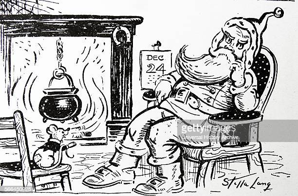 Cartoon showing Santa Clause and a mouse 1900
