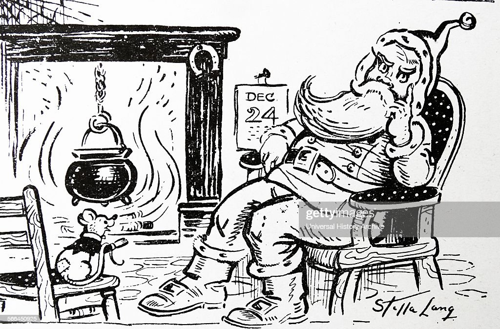 Cartoon showing Santa Clause and a mouse : News Photo
