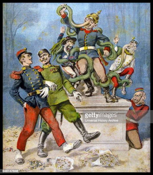 Cartoon showing the Triple Alliance between Germany Italy and Austria Germany is shown by Laocoon with Italy and Austria as his sons being strangled...
