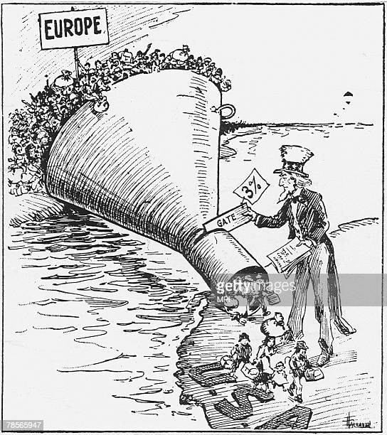A cartoon showing Uncle Sam putting the Emergency Quota Act in place 19th May 1921 The act limits the annual number of immigrants who can be admitted...
