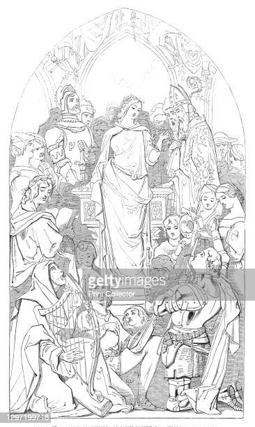 """Cartoon The Spirit of Chivalry - by Daniel Maclise, R.A., executed by commission, 1845. Decription by the artist: 'The Spirit, or """"Personification,''..."""
