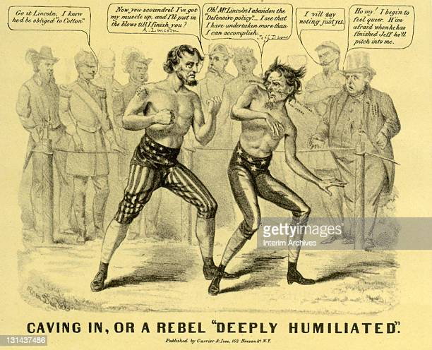Cartoon titled 'Caving In or a Rebel 'Deeply Humiliated' by Ben Day showing Abraham Lincoln getting the best of Jefferson Davis in a boxing match...
