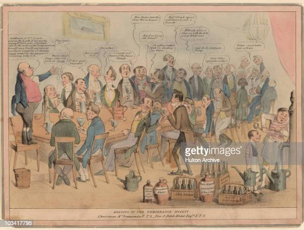 Cartoon titled 'Meeting of the Temperance Society Chairman Mr Drainemdry FTS Vice J DitchWater Esq FTS' depicting a large group of men seated around...