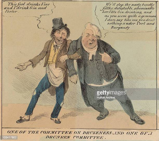 Cartoon titled 'One of the committee on drunkeness and one of a drunken committee' depicting two inebriated men arminarm Great Britain circa 1750 The...