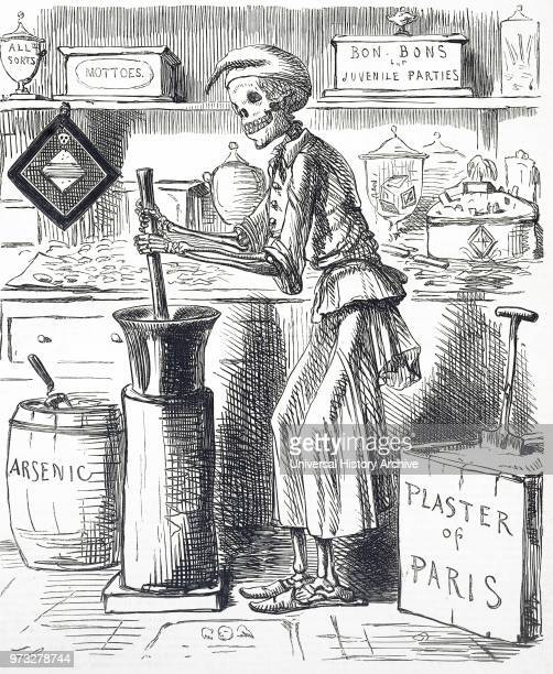 Cartoon titled 'Poisoning by Food Adulteration' In November 1858 a confectioner bought Plaster of Paris from a druggist to add to lozenges Instead of...