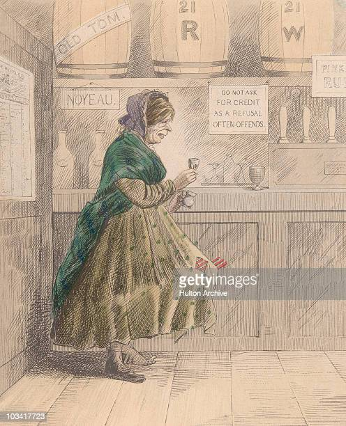 Cartoon titled 'St Giles's' depicting an elderly women dressed in clothes in need of repair a shawl and headscarf drinking from a small glass while...