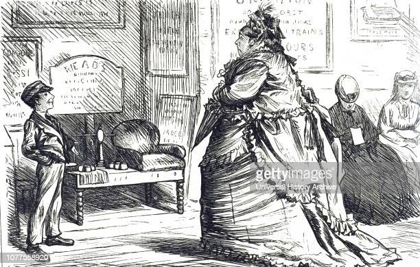 A cartoon titled 'The Dreadful Weighing Machine' Dated 19th century