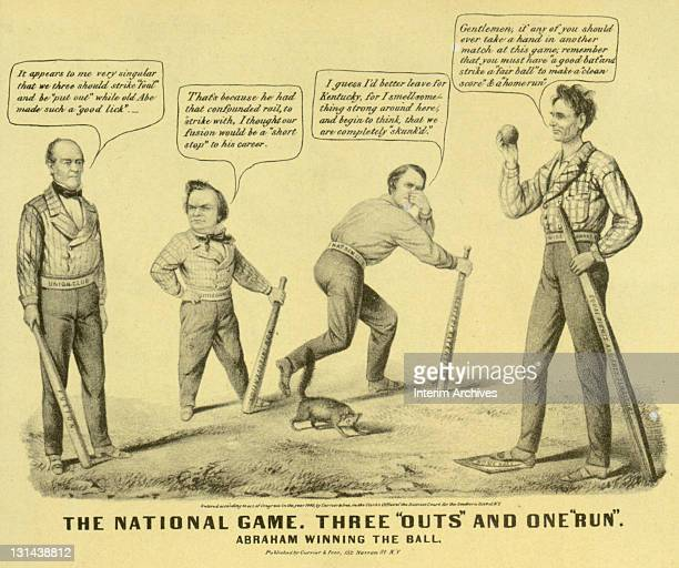 Cartoon titled 'The National Game Three 'Outs' and One 'Run'' depicting the 1860 elections as a baseball game won by Abraham Lincoln over John Bell...